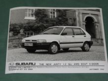 "SUBARU THE NEW JUSTY 1.2 GLi 4WD ECVT 5 DOOR (92) factory issue 8x6"" press photo"